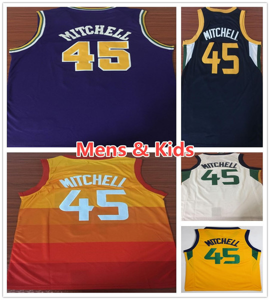 new style 46333 79a94 2019 Men Youth Kids 45 Donovan Mitchell Jersey New City Edition Purple  Orange Blue White Donovan Mitchell Jerseys Girls Boys Sportswear Shirt From  ...