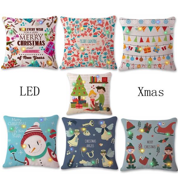 Christmas Pillow Covers LED Lights Cushion Cover Linen Square Throw Pillows Case Xmas Decorative Pillowcase Nursery Room Decor 7 Design 4643