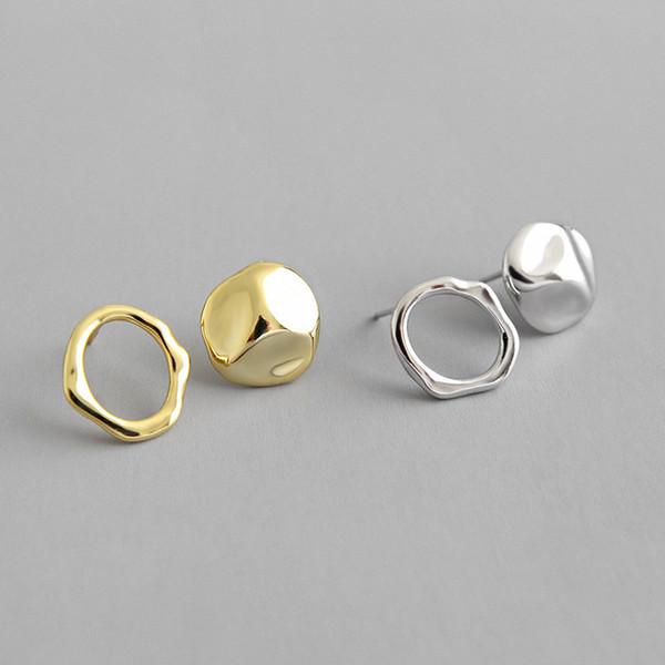 Unregelmäßige konkave konvexe hohle Kreis-Bolzen-Ohrringe des Sterlingsilber-100% 925 für Frauen-Asymmetrie-geometrischen Ohrring