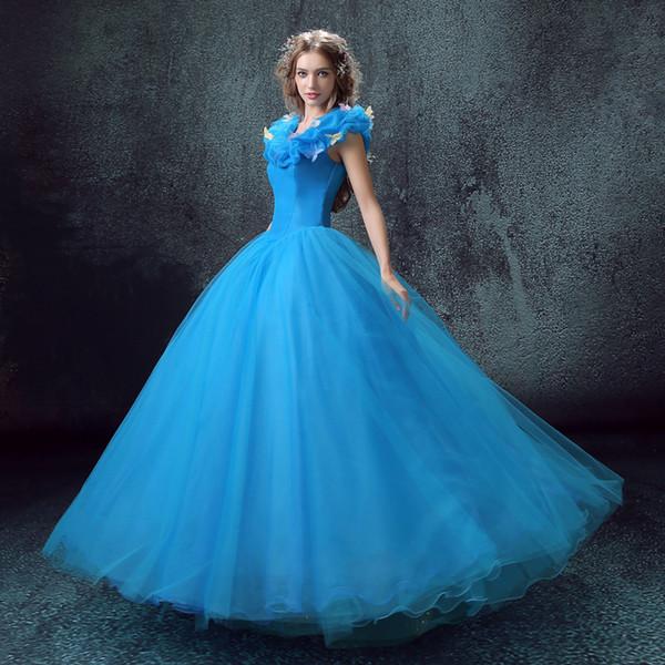 Külkedisi Prenses cosplay Külkedisi elbise yetişkin kadınlar için mavi deluxe cosplay kostüm kız gelinlik