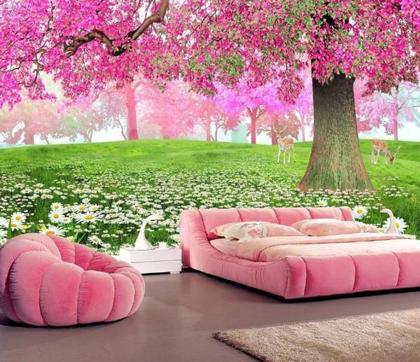 Пользовательские 3D Обои Шелковая Ткань Водонепроницаемый Холст Фрески Настенная Живопись Цветок море вишневое дерево проход 3D ТВ фоне стены Росписи Обои