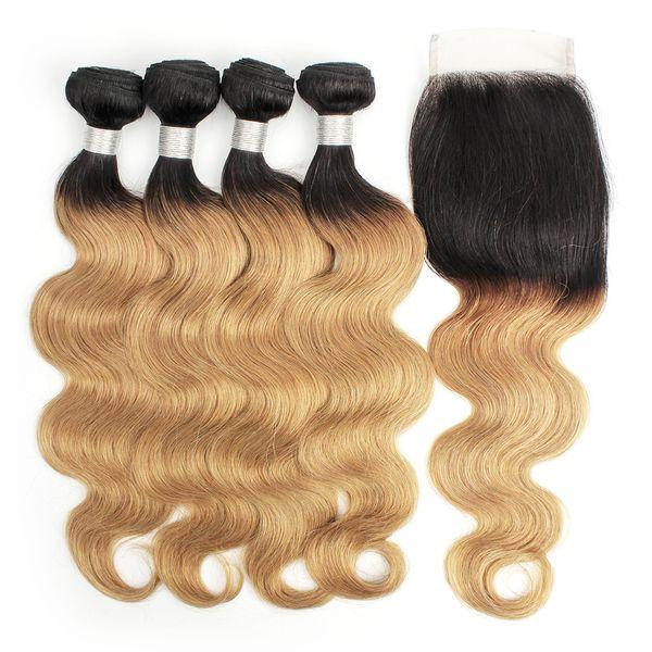 KISSHAIR T1B27 Dark Root Honey Blonde Extensions Body Wave Ombre Tejido de cabello humano 4 paquetes con cierre de encaje Color cabello virgen brasileño