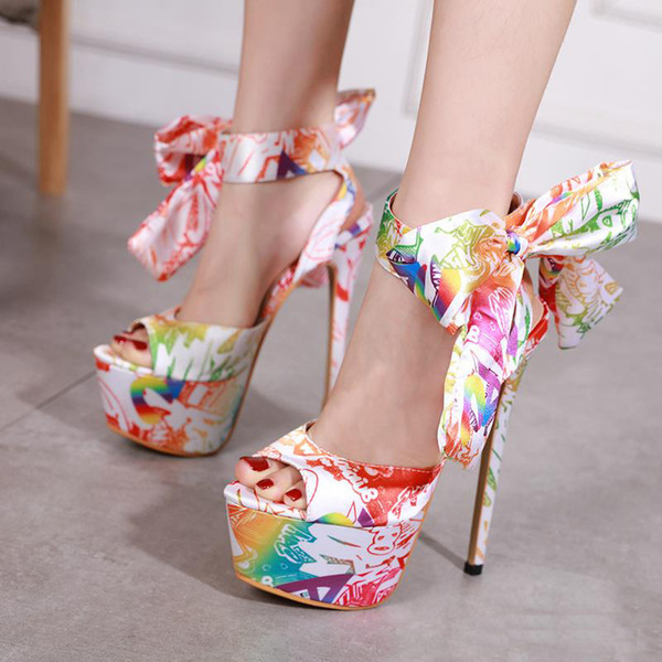 15cm sexy bowtie floral printed ultra high heels women shoes sandals size 35 to 40