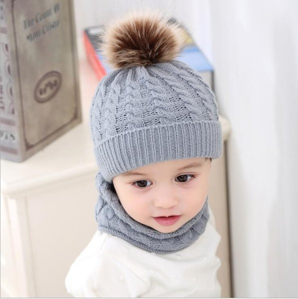 Baby Knit Hat Scarf Toddler Girl Boy Winter Crochet Beanie Hairball Cap Set Suit Free Shipping