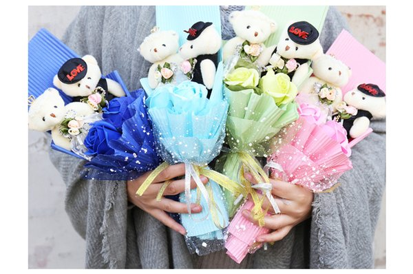 12PCS cartoon bouquet packaging material plush couple bear cartoon doll bear bouquet doll