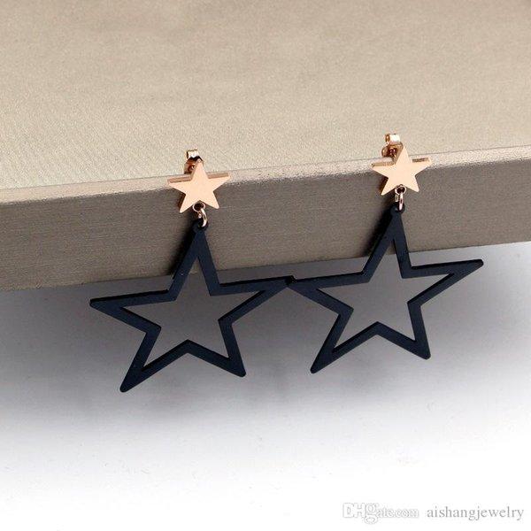 E17 2018 новинка полая с маленьким черным пятиконечная звезда серьги золотая табличка для леди подарок бесплатная доставка
