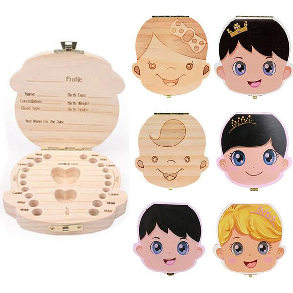 Baby Wood Tooth Box Organizer Spanish English Russian Milk Teeth Storage Collect Teeth UmbilicaSave Cord Lanugo Teeth Box Gift Kids AAA2053