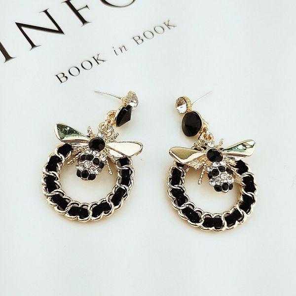 Vintage orecchino a perno Stud orecchino rotondo donne ape lungo per gli accessori dei monili di modo del partito del regalo Trasporto di Epacket di alta qualità