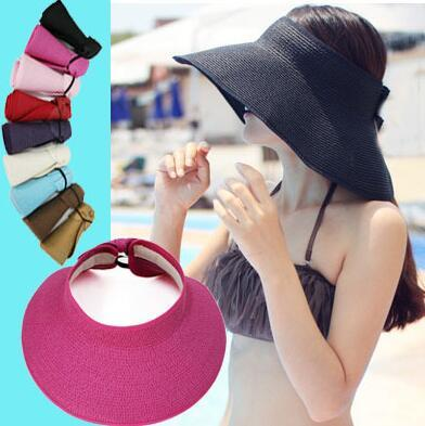 Lady foldable straw hat wide brim hats visor cap with bowknot beach hats portable straw hats sun alpine cap fashion outdoor protection hat