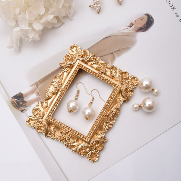 [DDisplay]Resin Mini Frame Golden Jewelry Display Windows Victorian Fashion Earring Standing Showcase Rose Flower Pendant Stand Holder