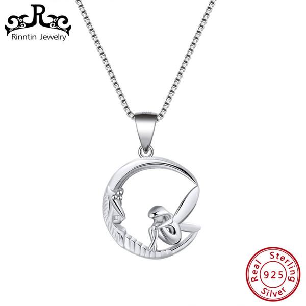 Rinntin elegante 925 sterling silver mulheres colares pingentes design original lua com forma de fada pingente de jóias finas tsn106