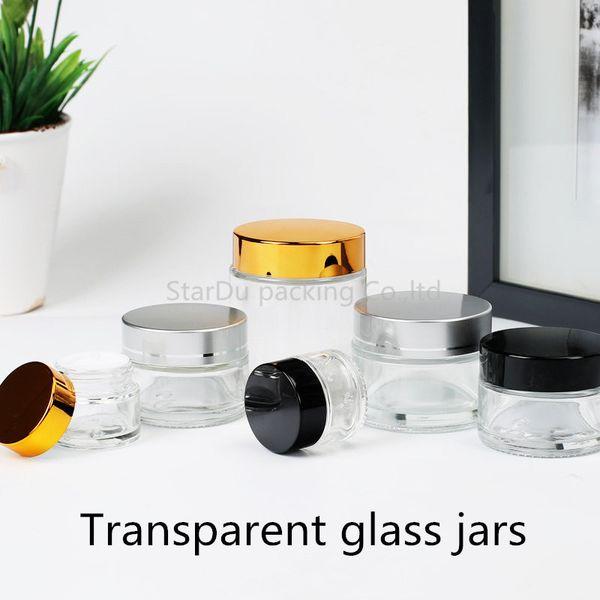 Vasetti di vetro trasparenti vuoti da 100 pezzi, vasetti di crema da 5 g 10 g 20 g 30 g 50 g 80 g, flaconi di crema per la cura della pelle, contenitori per cosmetici