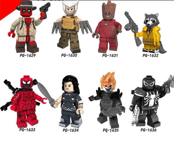 Deadpool Figures Marvel Super Heroes Groot Rocket Raccoon Building Blocks Sets Bricks Educational Toys Evil Spirit Knight Children Model