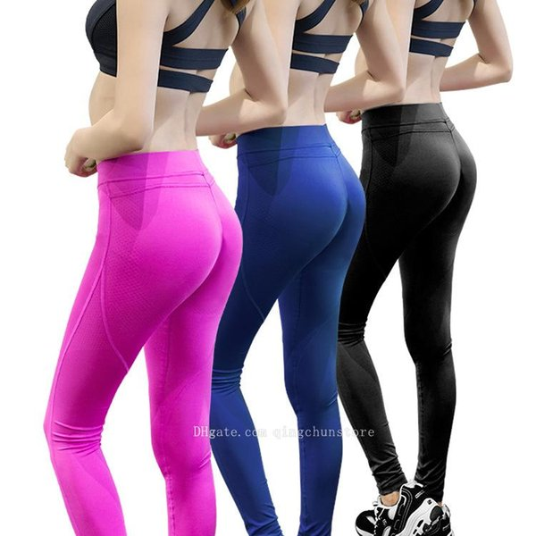 Hot Sexy body shaping hip trousers female silicone non-slip high elastic leggings quick-drying breathable yoga pants running fitness pants