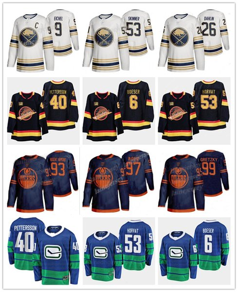2019-2020 Edmonton Oilers 2019-2020 Terzo 97 Connor McDavid Sabres d'oro 50 ° Stagione Terzo 9 Jack Eiche 40 maglie Elias Pettersson