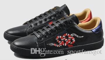 Ace Shoes Sapatos de grife Tênis brancos de couro branco 100% couro bordado de abelha Strass sapatos de salto alto Mulheres Tênis de couro genuíno