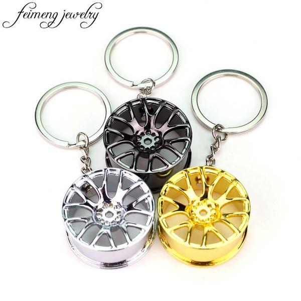 Creative Automotive Cool Luxury metal Keychain Car Key Chain Key Ring Wheel Hub Chain Pendant For Man Women Fashion Jewelry