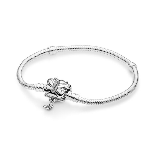 2019 Spring Fit European Beads Pandora 16-21cm 925 Silver Not Plated Butterfly Bracelet Snake Chain with Bracelets With Letter Stamp