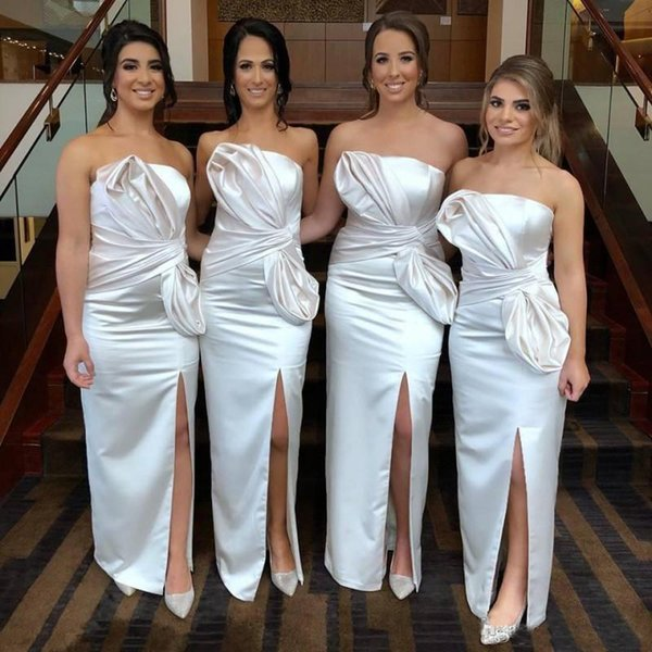 Fashion Strapless Bridesmaid Dresses Plus Size Pleats Satin Sheath Maid Of  The Honor Dress Front Split Simple Party Gowns Brown Bridesmaid Dresses ...