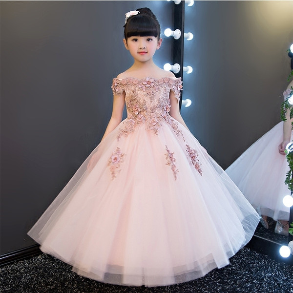 Elegant Sweet Long Beading Appliques Shoulderless Flower Girl Dress Kids Performance Show Party Birthday First Communion Gowns J190611