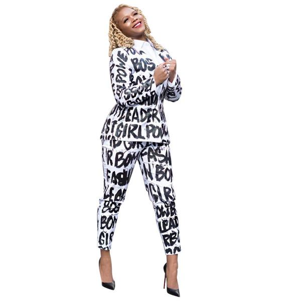Kadınlar Beyaz Mektuplar Baskılı Gündelik Takım Elbise Tasarımcı 2 adet Giyim Setleri Gömlek Pantolon KıZ Tops