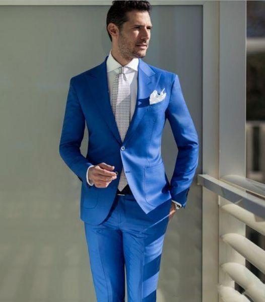 Yüksek Kalite İki Düğmeler Mavi Düğün Damat Smokin İki adet Groomsmen Biçimsel İş Takımları (Ceket + Pantolon + Kravat) TAMAM: 14