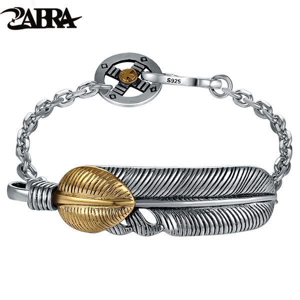 ZABRA Velho ourives 925 pulseira de prata Charme Para As Mulheres Dos Homens Amante pena dourada ÍCONES do punk moda boate rock Jóias