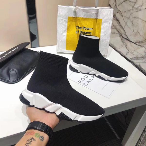 2019 En İyi Kalite Hız Eğitmeni Siyah Tasarımcı Sneakers Erkek Kadın Siyah Kırmızı Rahat Ayakkabılar Moda Çorap Sneaker Üst Çizmeler Size36-45