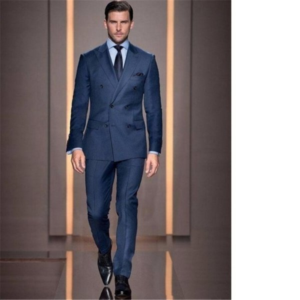 Italian Style Navy Blue Groom Tuxedos Double Breasted Slim Fit Mens Wedding Party Suits Bridegroom Suits Blazer (Jacket+Pants)