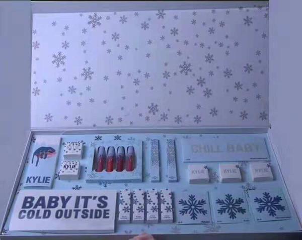 2018 Nuevos conjuntos de maquillaje La colección de vacaciones Lápiz labial líquido mate kit Eyeshadow Palette Gloss Highlighter Kit de regalo de Navidad envío de DHL