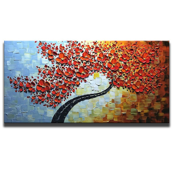 100% Hand Painted 3D Oil Paintings Maple Tree Pictures Home Decor Red Artwork Canvas Wall Art No Framed Abstract