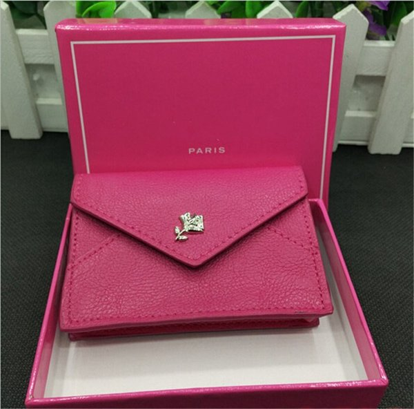 LC Modern PU Rose Red 7x10cm Cosmetic Bag Card Wallet Cell Phone Pouches Business Fashion For Girl Women with Gift Box