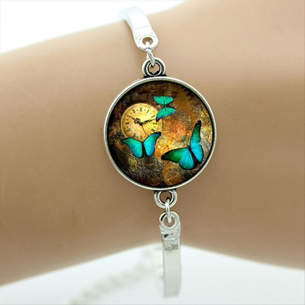 Steampunk pendant butterfly picture in glass cabochon dome charm bangles Silver Plate Solid Metal Cuff Bracelet women jewelry