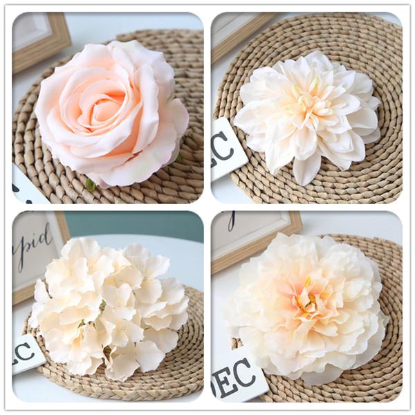 Cabeça de Flor de casamento Artificial Cor Champagne Decor Rose Peônia Hortênsia Planta Bouquet Decoração Do Casamento DIY Casa Flores Falsas