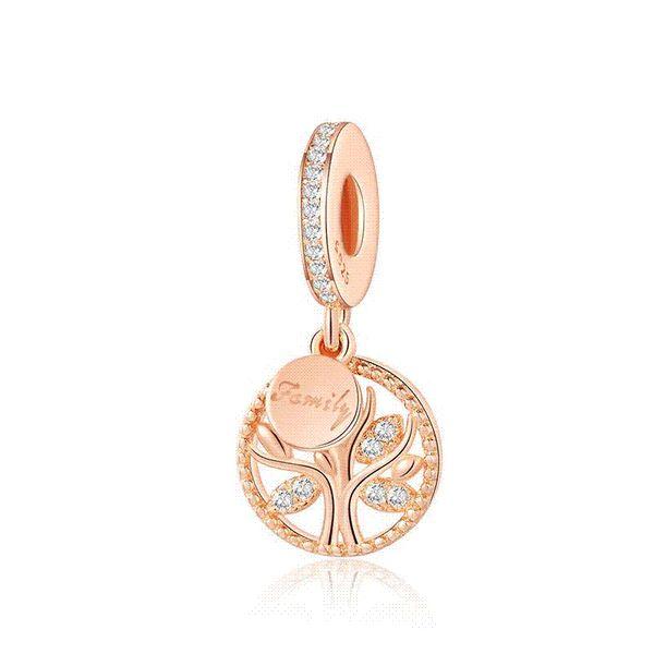 925 Gümüş Boncuk Charms Gül Altın Aile Ağacı Hayat Kolye Boncuk Kadınlar Için Orijinal Pandora Charms Bilezik Bileklik