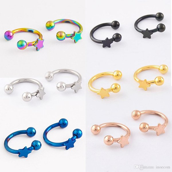 Surgical steel Star Shape U-shaped Horseshoe Fake Nose ring ear Cartilage Helix Tragus and lip eyebrow Body Piercing Jewelry