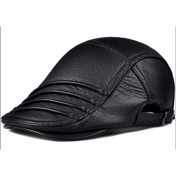 Nuevo 2019 Spring Real Deerskin Berets Gorras para hombre Casual Peaked Leather Caps Berets Novedad Sombreros Casquette Cap Envío gratis
