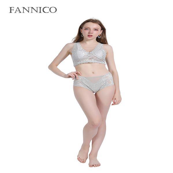 Fannico mujer Ropa interior sexy Conjunto de sujetador push up Sujetador de algodón Sujetador de encaje negro profundo V y panty Conjuntos Lencería Mujer