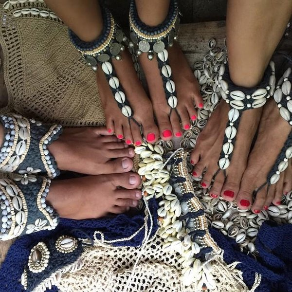 Sandalias descalzas de Shell Tobillera de playa Joyas para bikini