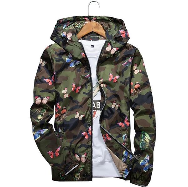 Mujer del Alto Calidad Otoño Camo rompevientos chaqueta delgada femenina de la mariposa camuflaje rompevientos con capucha abrigos de primavera rompevientos Y190919