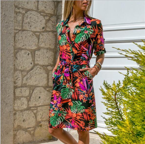 2019 vestidos de verão para as mulheres t-shirt vestidos de outono designer de saias de manga longa senhora vestidos de moda de nova praia dress 4 estilo s-2xl atacado
