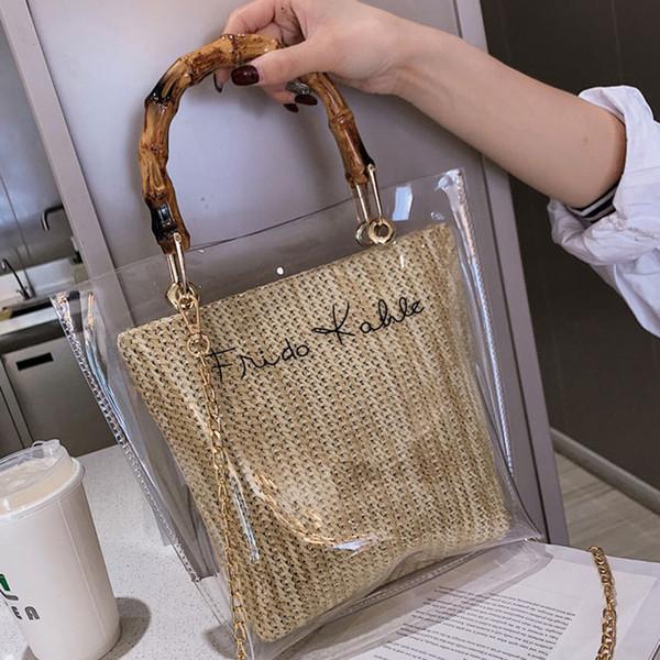 Bambus Griff Stroh Weben Handtasche Damentaschen 2019 Mode Brief Gedruckt Klar Umhängetasche Messenger Sommer Handtaschen Einkaufstasche