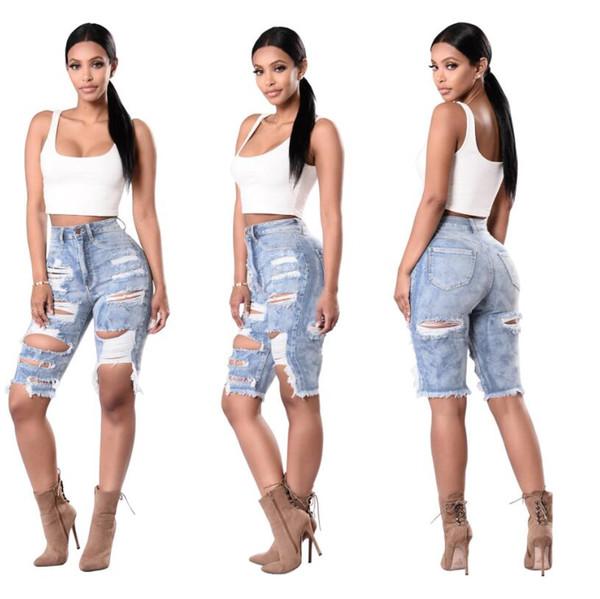 Nuevas Mujeres Sexy Señoras Denim Skinny Ripped Shorts Agujero de cintura alta Destroyed Drapeado Stretch Bodycon Jeans Slim Shorts