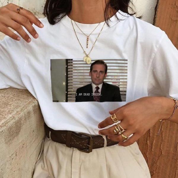 Dead Inside Quotes Lustiges T-Shirt Das Büro Michael Scott T-Shirt Unisex Tumblr T-Shirt Weiß Hemden Femme Dropshipping