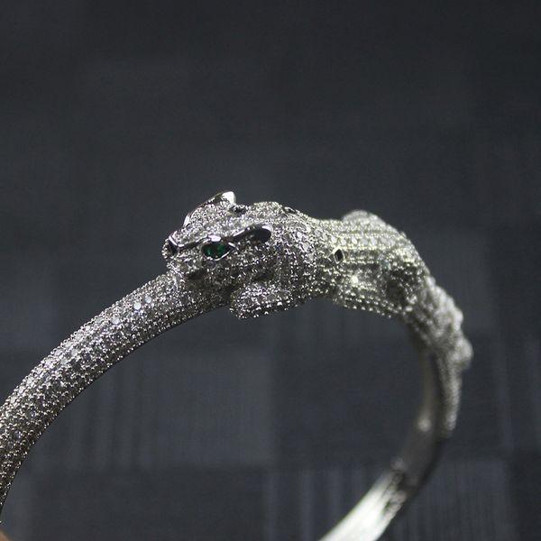 Diamante braccialetto animale di lusso del progettista dei monili delle donne Ins caldo Pardo d'argento del braccialetto del partito Man
