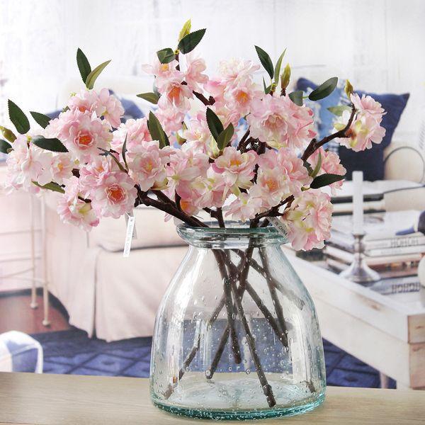 Artificial Cherry Blossoms Silk+plastic Flowers Sakura Branch For Home Hotel Decor Diy Wedding Arch Decoration Wreath