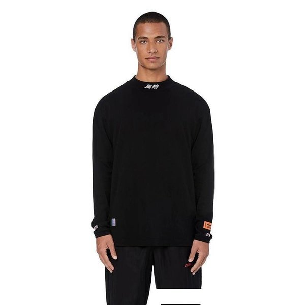 18FW Heron Preston Tee Çin Mektup Nakış Yüksek Yaka Alt Gömlek T-Shirt Moda Çift Highstreet HFLSWY246