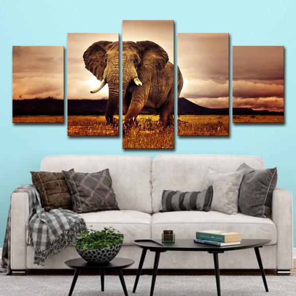 5 pcs Animal Éléphant Coucher Du Soleil Paysage Peintures Mur Art HD Imprimer Toile Peinture De Mode Suspendre Photos