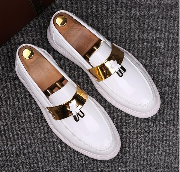 2019 New PU Leather Casual Driving Oxfords Party Flats Shoe Mens Loafers Moccasins Italian Men Wedding Shoes size 38-44 BM21