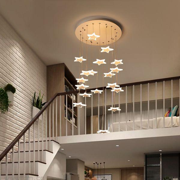 Étoile Escaliers Lustre personnalisée Duplex Bâtiment moderne Aisle simple Rotating Creative Stairs longue Led Lustre I232